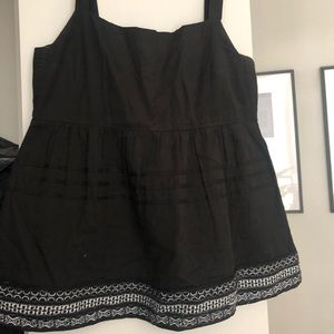 Anthropologie black linen tank w/ white embroidery
